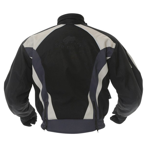 Buffalo Commando Mens Black Grey Textile Motorcycle Jacket Back