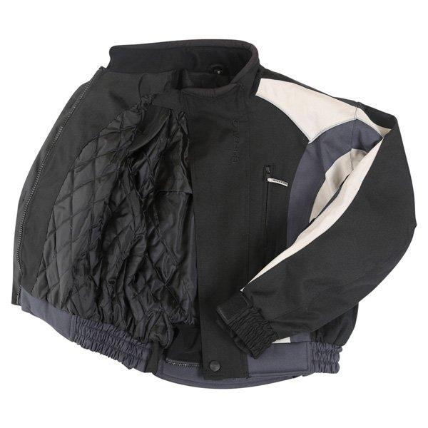 Buffalo Commando Mens Black Grey Textile Motorcycle Jacket Inside