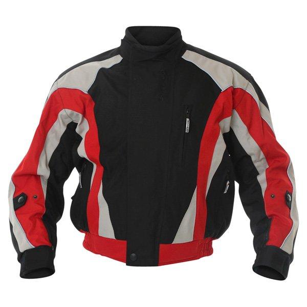 Buffalo Commando Mens Black Grey Red Textile Motorcycle Jacket Front