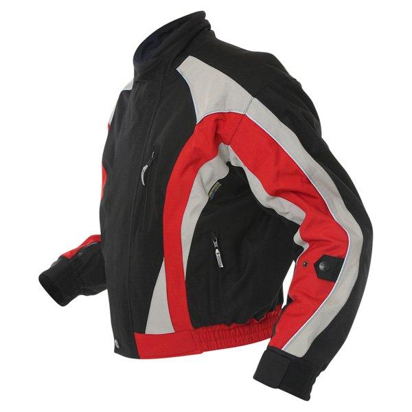Buffalo Commando Mens Black Grey Red Textile Motorcycle Jacket Side