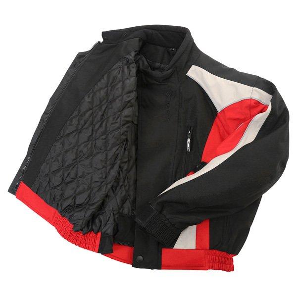 Buffalo Commando Mens Black Grey Red Textile Motorcycle Jacket Inside