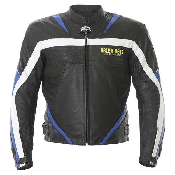 Arlen Ness Lj-3179 Black Blue White Leather Motorcycle Jacket Front