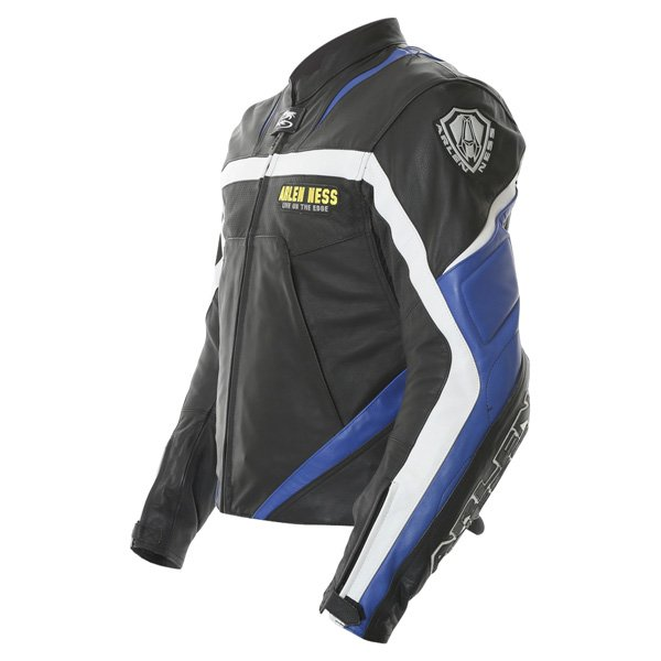 Arlen Ness Lj-3179 Black Blue White Leather Motorcycle Jacket Side