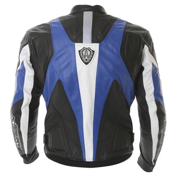 Arlen Ness Lj-3179 Black Blue White Leather Motorcycle Jacket Back