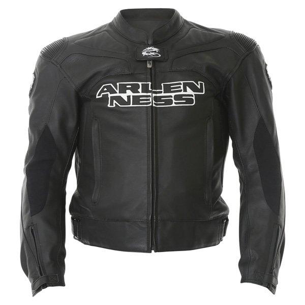 Arlen Ness Lj-5080 Black Leather Motorcycle Jacket Front