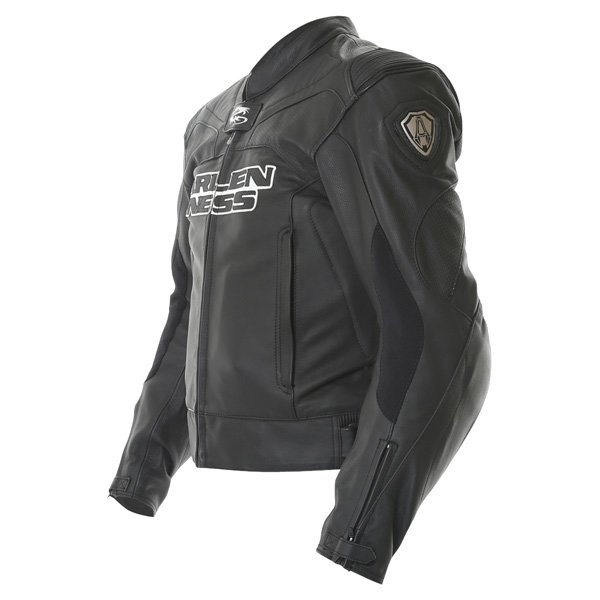 Arlen Ness Lj-5080 Black Leather Motorcycle Jacket Side