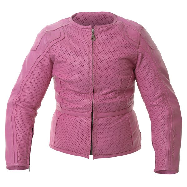 Frank Thomas FTL266 Zoe Ladies Pink Leather Motorcycle Jacket Front