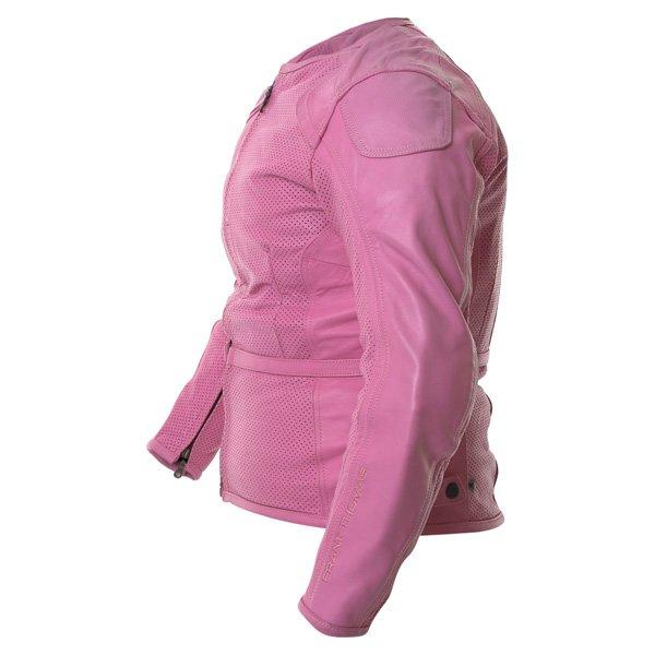 Frank Thomas FTL266 Zoe Ladies Pink Leather Motorcycle Jacket Side