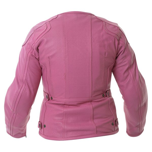 Frank Thomas FTL266 Zoe Ladies Pink Leather Motorcycle Jacket Back
