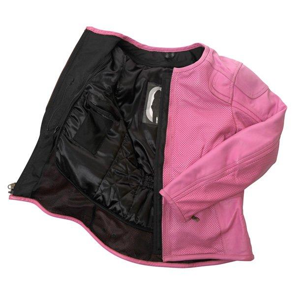 Frank Thomas FTL266 Zoe Ladies Pink Leather Motorcycle Jacket Inside