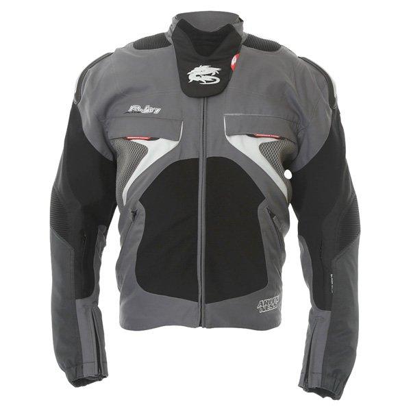 Arlen Ness NJ-5527 Mens Black Grey Textile Motorcycle Jacket Front