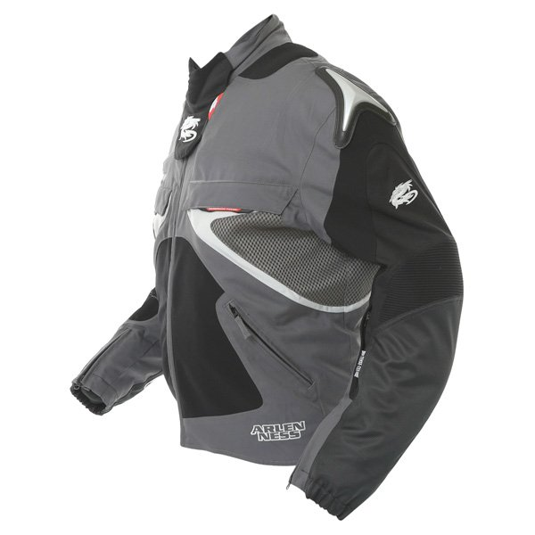 Arlen Ness NJ-5527 Mens Black Grey Textile Motorcycle Jacket Side