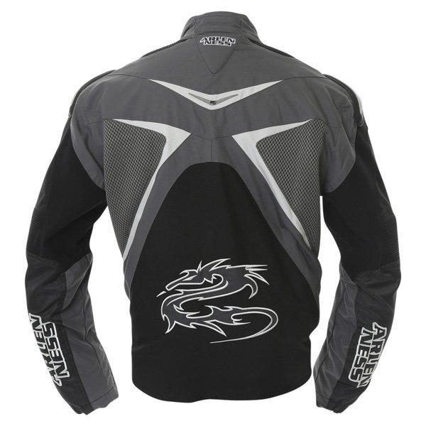 Arlen Ness NJ-5527 Mens Black Grey Textile Motorcycle Jacket Back