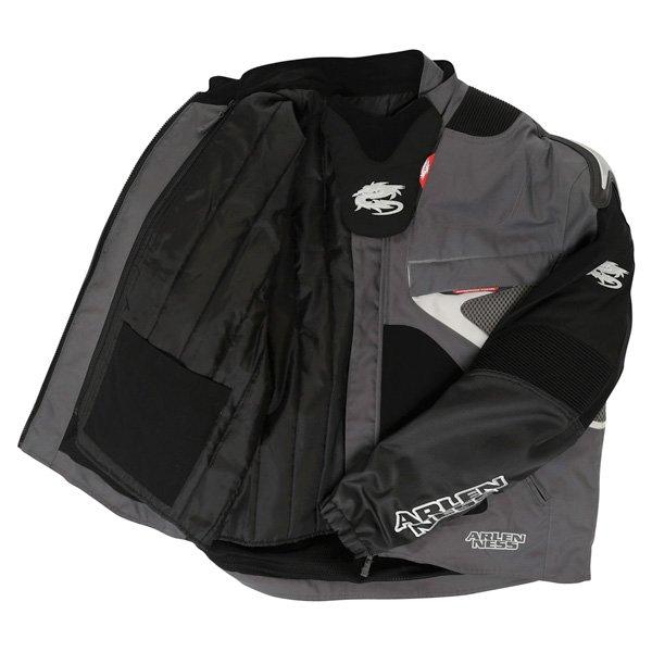 Arlen Ness NJ-5527 Mens Black Grey Textile Motorcycle Jacket Inside