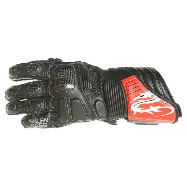 Arlen Ness G-6037 Black Red Motorcycle Gloves Back