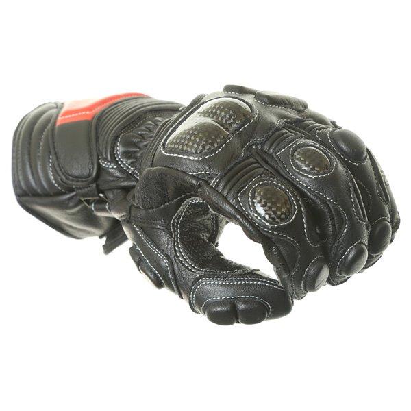 Arlen Ness G-6037 Black Red Motorcycle Gloves Knuckle