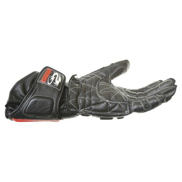 Arlen Ness G-6037 Black Red Motorcycle Gloves Little finger side