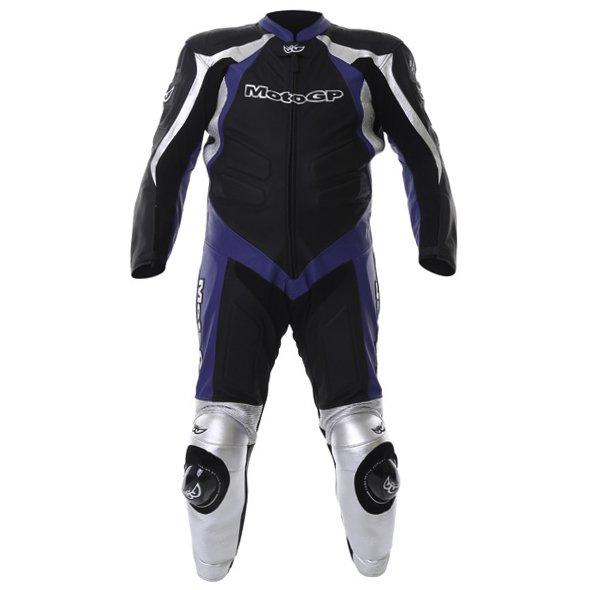Berik Ls1-2964 Gp Mens Black Blue Leather Motorcycle Suit Front