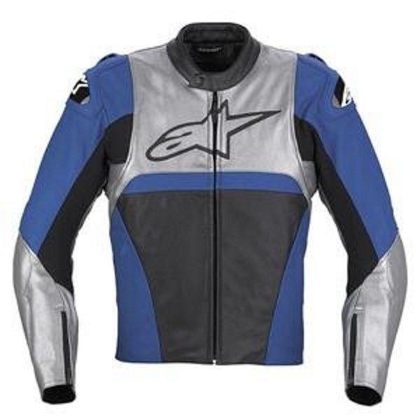 Alpinestars Vector Black Grey Blue Leather Motorcycle Jacket Front