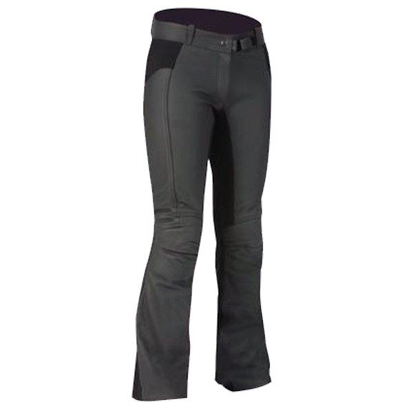 Frank Thomas FTL290 Jasmine Ladies Black Leather Motorcycle Jeans Front