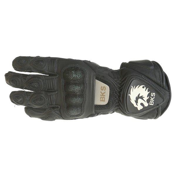BKS BKG001 Black Motorcycle Gloves Back