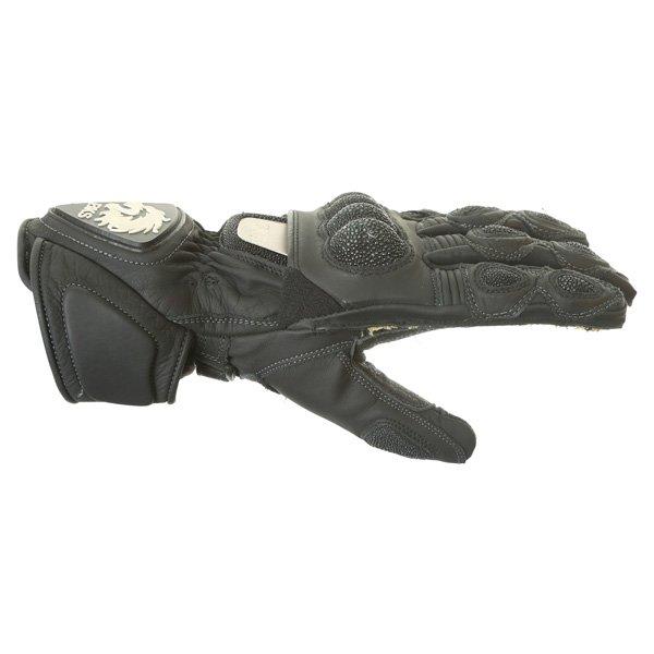 BKS BKG001 Black Motorcycle Gloves Thumb side