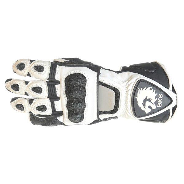 BKS BKG001 White Black Motorcycle Gloves Back