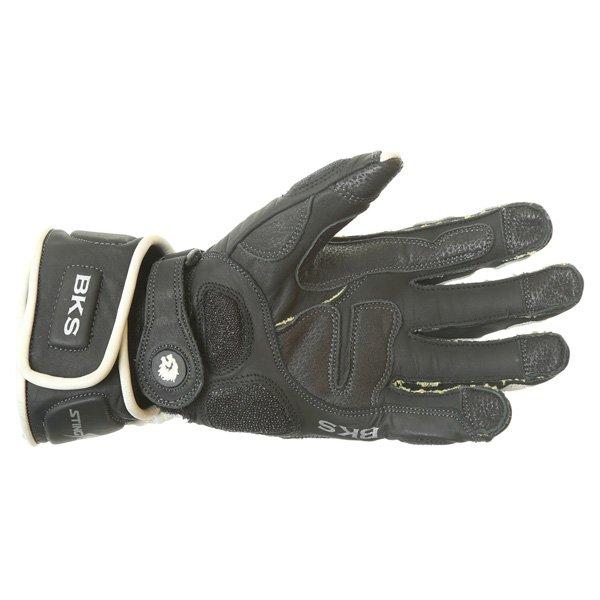 BKS BKG001 White Black Motorcycle Gloves Palm