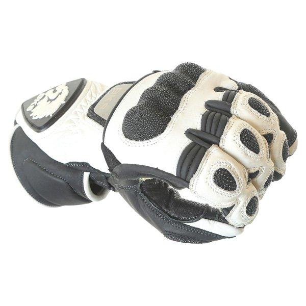 BKS BKG001 White Black Motorcycle Gloves Knuckle