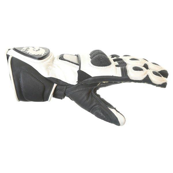 BKS BKG001 White Black Motorcycle Gloves Thumb side