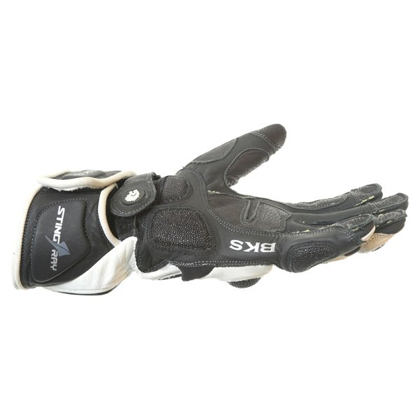 BKS BKG001 White Black Motorcycle Gloves Little finger side