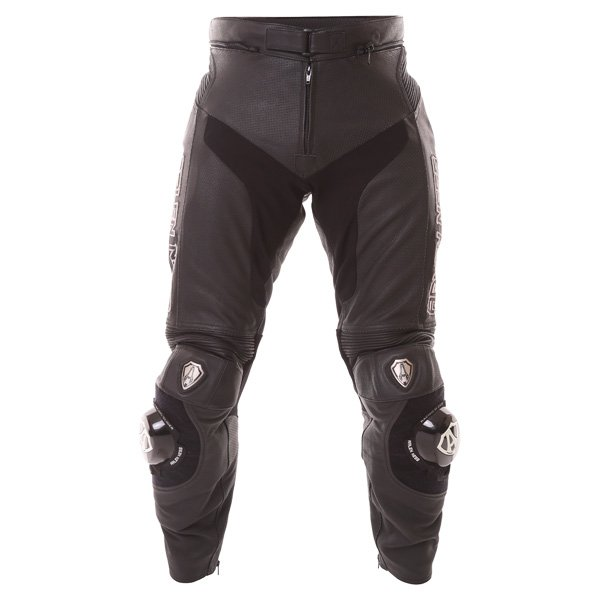 Arlen Ness LP-8314-An Mens Black Leather Motorcycle Jeans Front