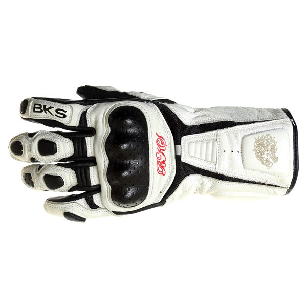 BKS Prowess White Black Motorcycle Gloves Back