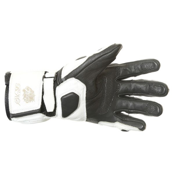 BKS Prowess White Black Motorcycle Gloves Palm