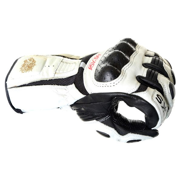 BKS Prowess White Black Motorcycle Gloves Knuckle