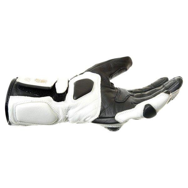 BKS Prowess White Black Motorcycle Gloves Little finger side