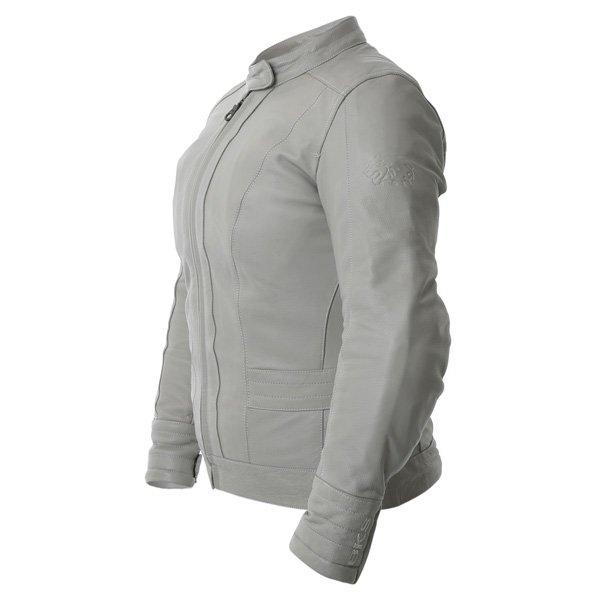 BKS BKS008 Windsor Ladies Cream Leather Motorcycle Jacket Side