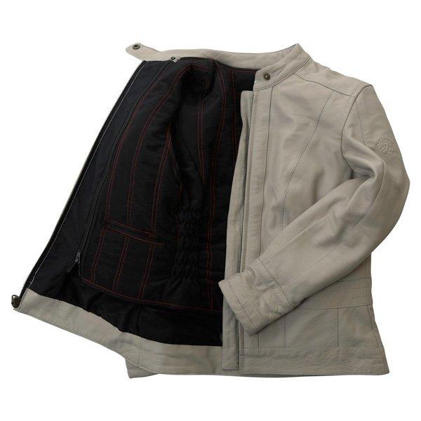 BKS BKS008 Windsor Ladies Cream Leather Motorcycle Jacket Inside