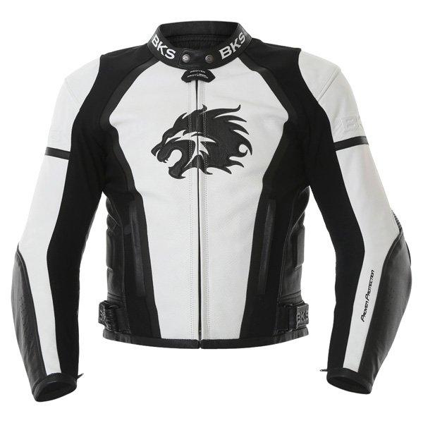 BKS BKS012 Lynx White Black Leather Motorcycle Jacket Front