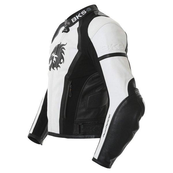 BKS BKS012 Lynx White Black Leather Motorcycle Jacket Side