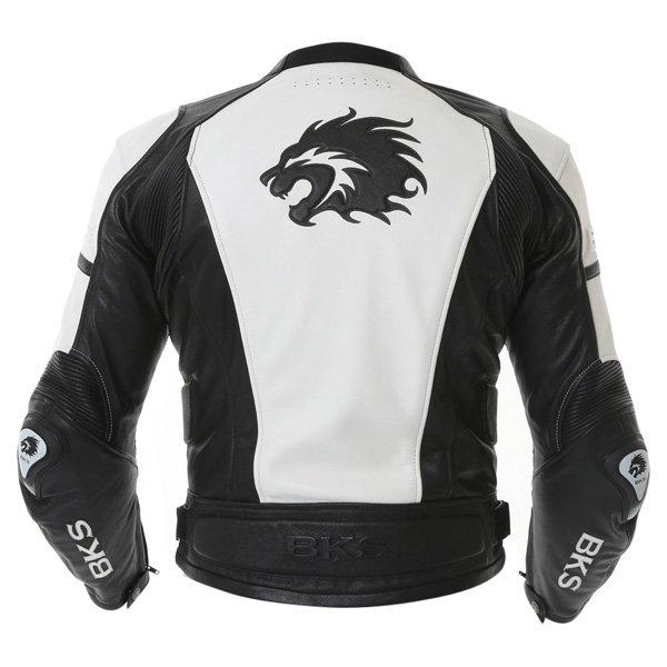 BKS BKS012 Lynx White Black Leather Motorcycle Jacket Back