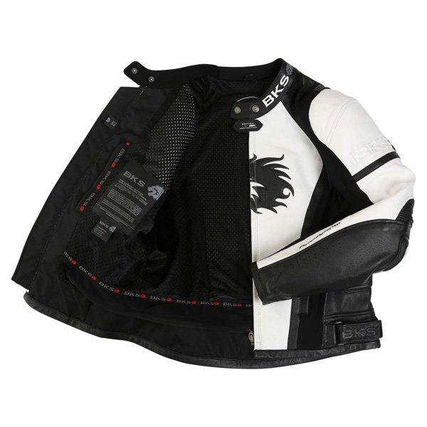 BKS BKS012 Lynx White Black Leather Motorcycle Jacket Inside