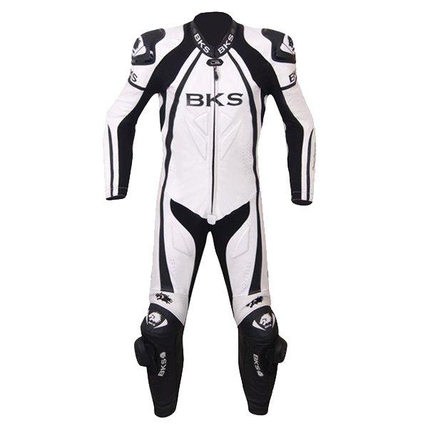BKS BKS057 Leopard Mens White Leather Motorcycle Suit Front