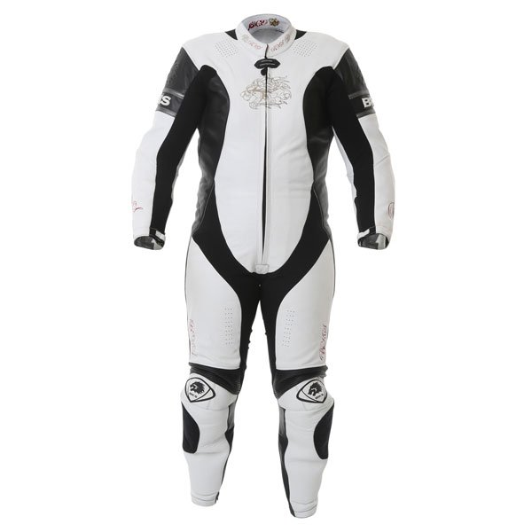 BKS BKS062 Prowess Mens White Black Leather Motorcycle Suit Front