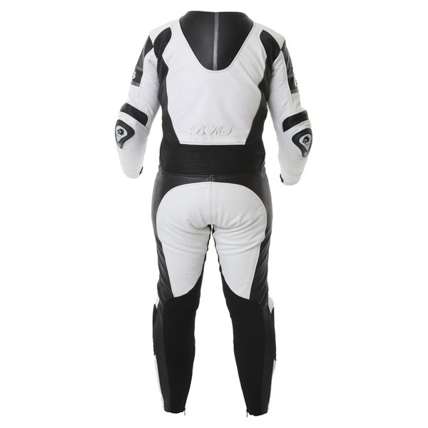 BKS BKS062 Prowess Mens White Black Leather Motorcycle Suit Back