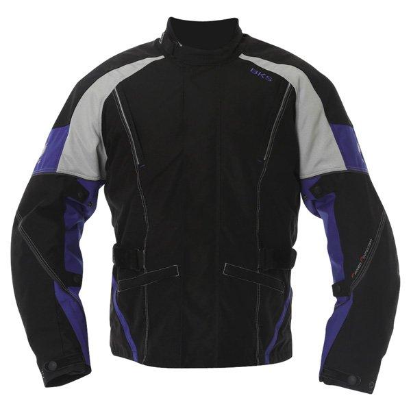 BKS BKW001 Gloucester Mens Black Grey Blue Textile Motorcycle Jacket Front