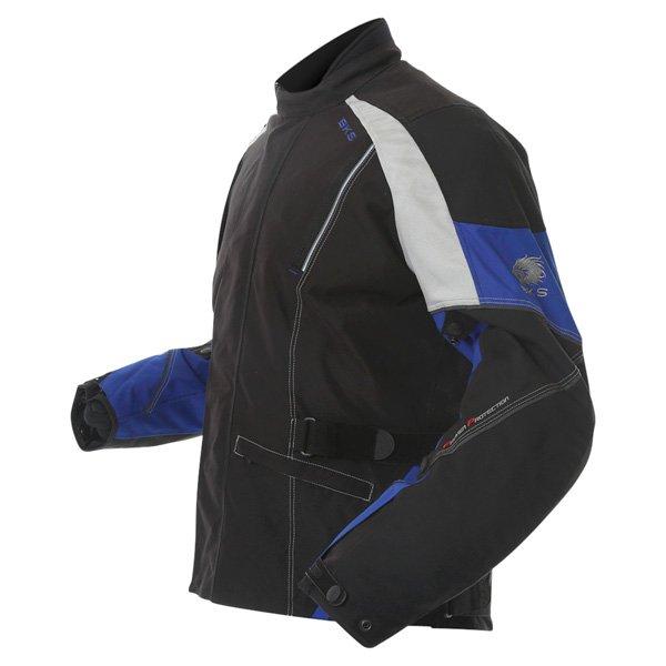 BKS BKW001 Gloucester Mens Black Grey Blue Textile Motorcycle Jacket Side