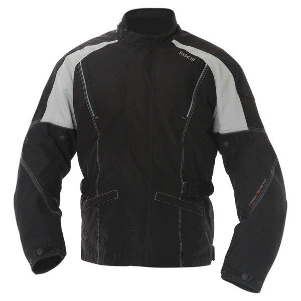 BKS BKW001 Gloucester Mens Black Grey Textile Motorcycle Jacket Front