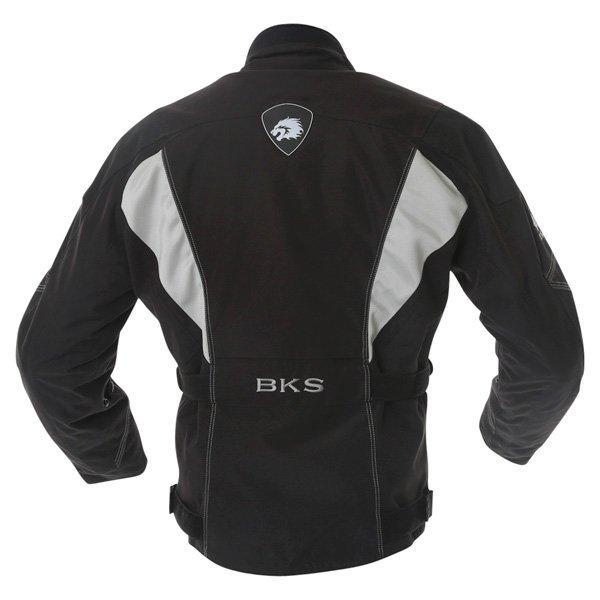 BKS BKW001 Gloucester Mens Black Grey Textile Motorcycle Jacket Back