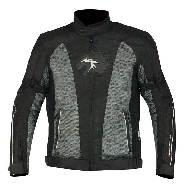 BKS BKW007 Cleveland Mens Black Grey Textile Motorcycle Jacket Front